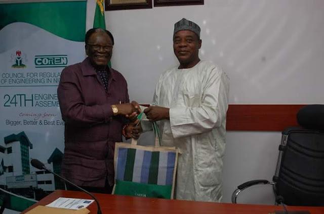 NSE President Otis Anyaeji and COREN President Khashim Ali strategise on Nigerian Engineering Development