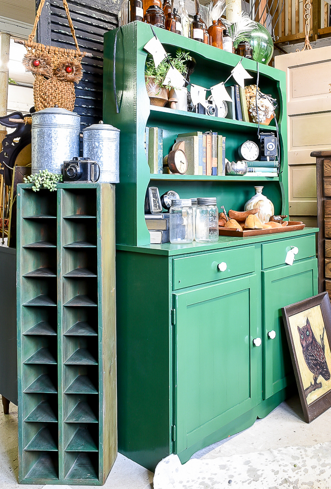 Emerald green painted hutch and tall vintage storage organizer