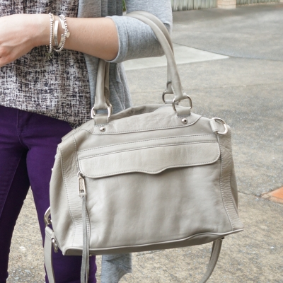 purple skinny jeans and Rebecca Minkoff MAB mini MAM bag in soft grey | AwayFromTheBlue
