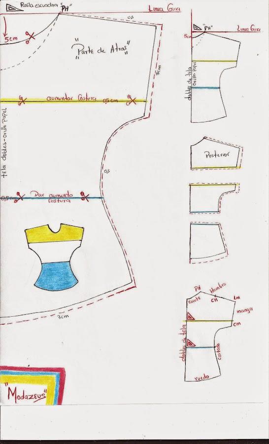 molde o patron de blusa para niñas de tres colores