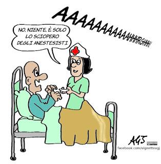 sciopero, sanità, ospedali, anestesia, umorismo, vignetta