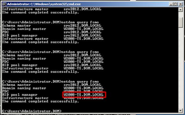 La función Maestro de RID ya no será de SRV2012, la ostentará nuestro servidor productivo W2008-TS.
