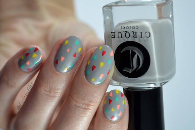 stencil decal triangle geometric nail design colourful delicate