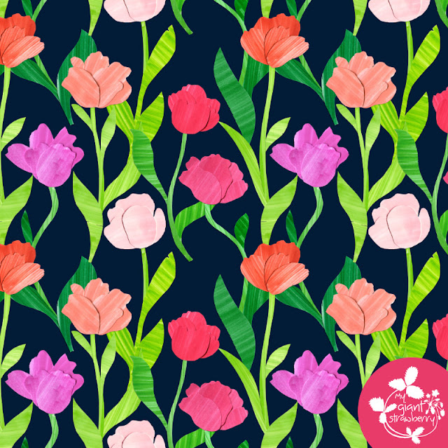 tulips, cut flowers, cut paper, collage, fabric design, spoonflower, Anne Butera, My Giant Strawberry