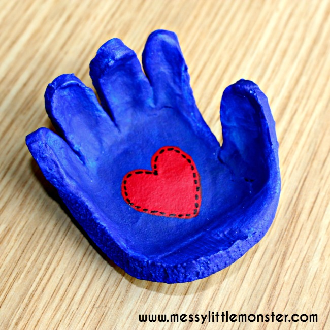 Salt dough hand shaped dish keepsake.  Use a kids handprint to make a dish for rings, cufflinks or keys.