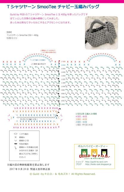 転載しないでください。Guild by POD 【無料編み図】TシャツヤーンSmooTeeチャビー玉編みバッグの編み方