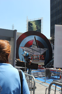 Captain America's shield with the star cut out for a walkway on the red carpet