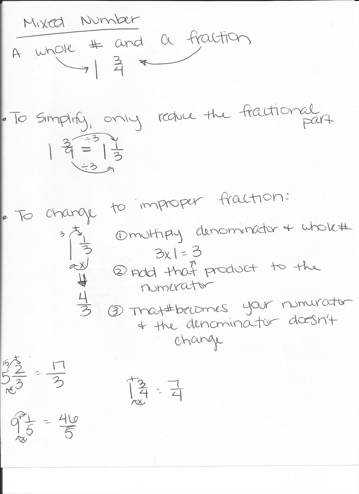 Miss Lewis 5th Grade Math Mixed Numbers And Improper Fractions