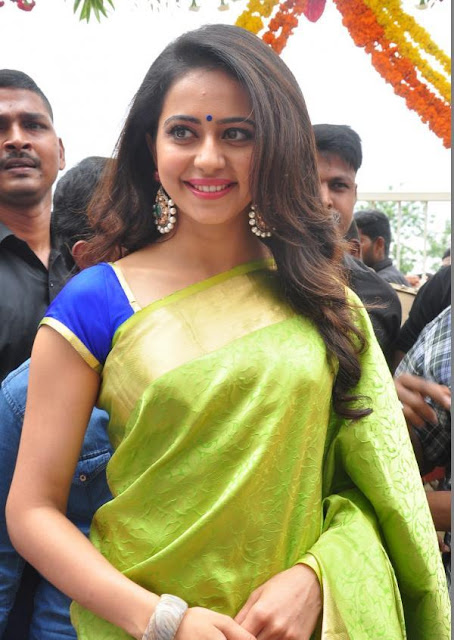 Rakul Preet Singh In Green Silk Saree