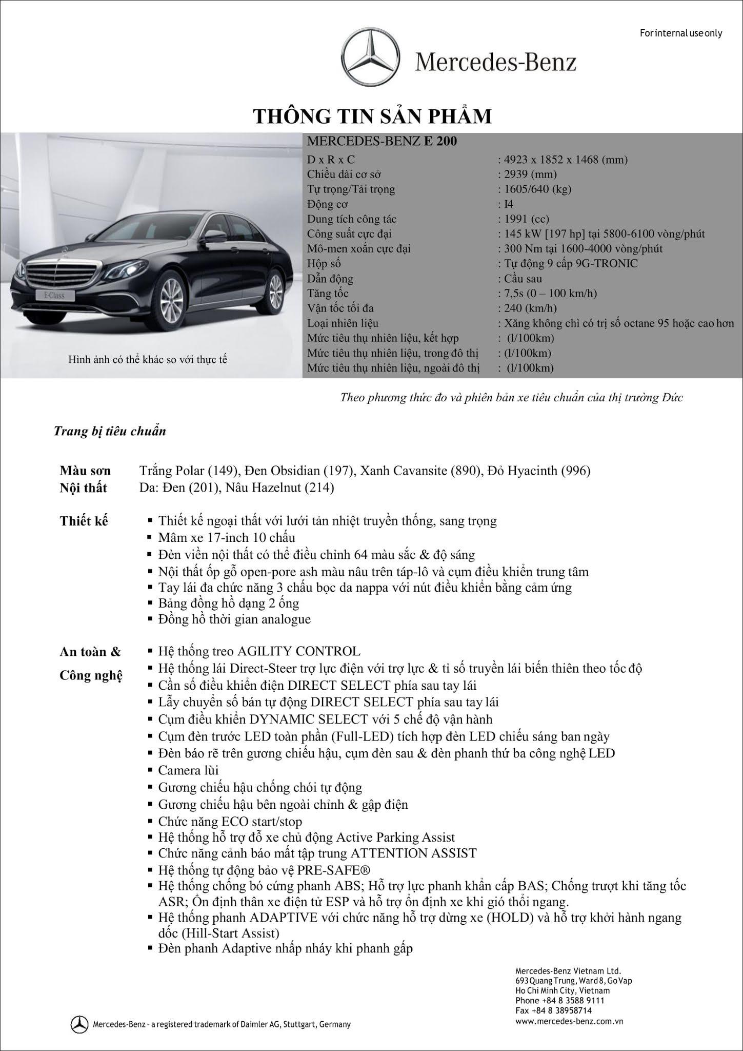 Bảng thông số kỹ thuật Mercedes E200 2019 facelift tại thị trường Việt Nam