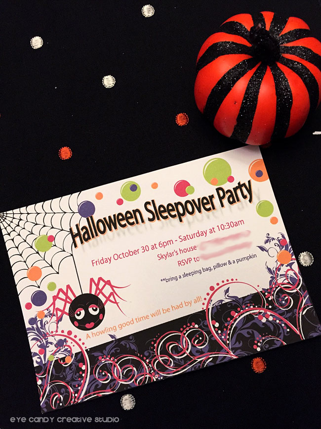 halloween sleepover party invitation, halloween party invite, glam spider