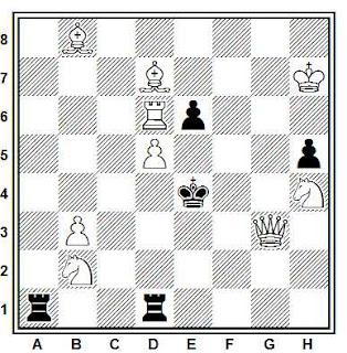 Problema de mate en 2 compuesto por Viktor Chepizhny (1º-2º premio, Concours Moscovite 2004)