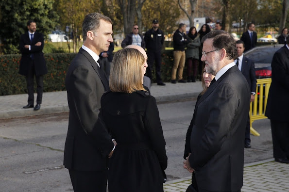 King Felipe and Queen Letizia of Spain attend a funeral ceremony on December 15, 2015 in Madrid, held for the two Spanish policemen Jorge Garcia Tudela and Isidro Gabino San Martin Hernandez
