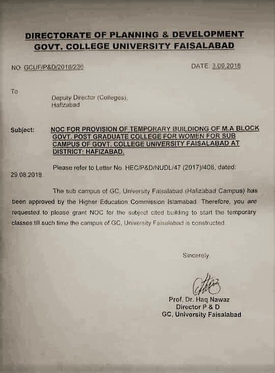 HOLDING OF TEMPORARY CLASSES BY GC UNIVERSITY FAISALABAD AT GOVERNMENT POST GRADUATE COLLEGE FOR WOMEN HAFIZABAD