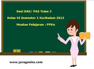 Contoh Soal UAS/ PAS K13 Kelas 6 Semester 1 Tema 3 PPKn