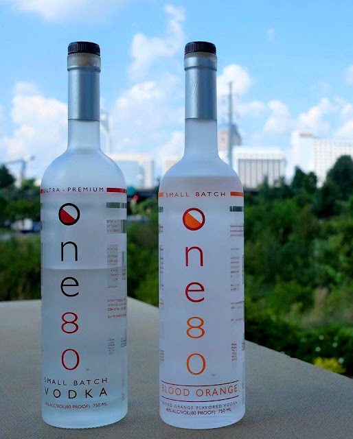 A bottle shot of black-owned One80 Vodka