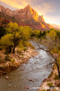 Cramer Imaging's professional quality landscape photograph of the Virgin River and mountains at sunset in Zion's National Park, Utah