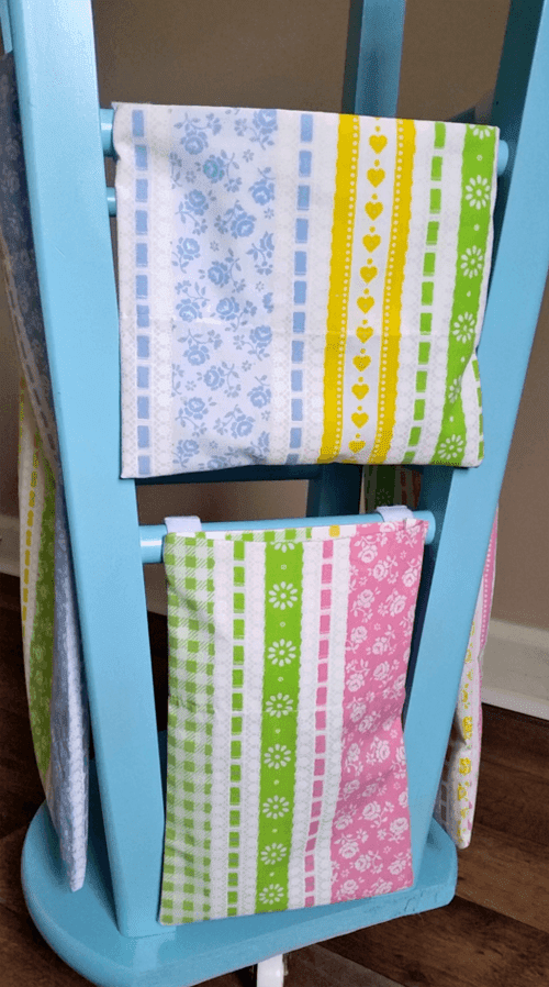 DIY Wrapping Paper Organizer from An Old Stool