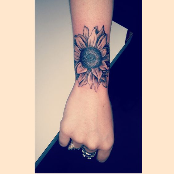 Beautiful Sunflower Wrist Tattoos