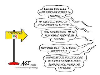pd, lega, m5s, divisioni, politica, vignetta, satira