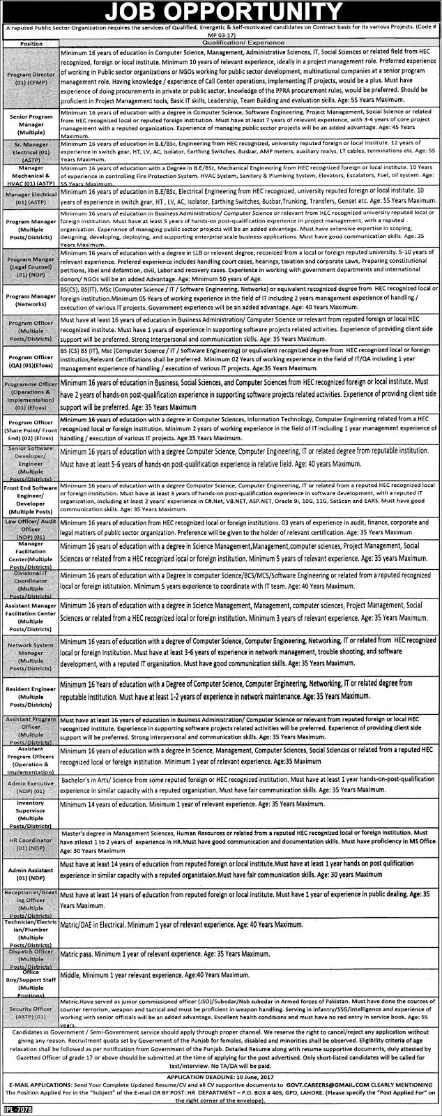 Self Motivated Jobs In Public Sector Organization Islamabad  29 May 2017