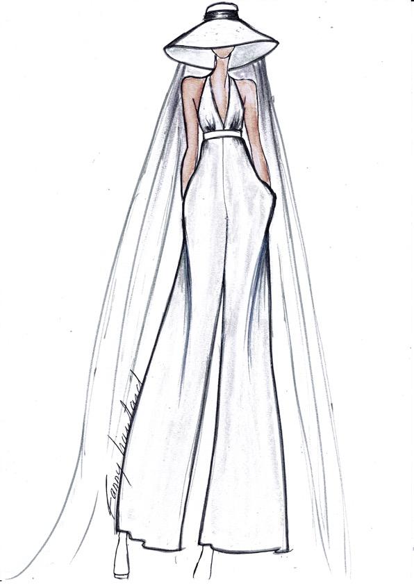 Croquis de mode robe courte