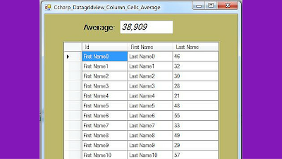 datagridview column average value