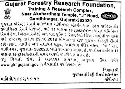 Gujarat Forestry Research Foundation (GFRF) Recruitment for SRF & JRF Posts 2018