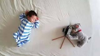 Ideas para fotos de bebés - perro fotografo