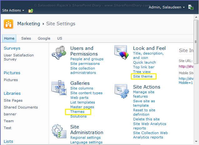 Hide Site Settings Links using HideCustomAction
