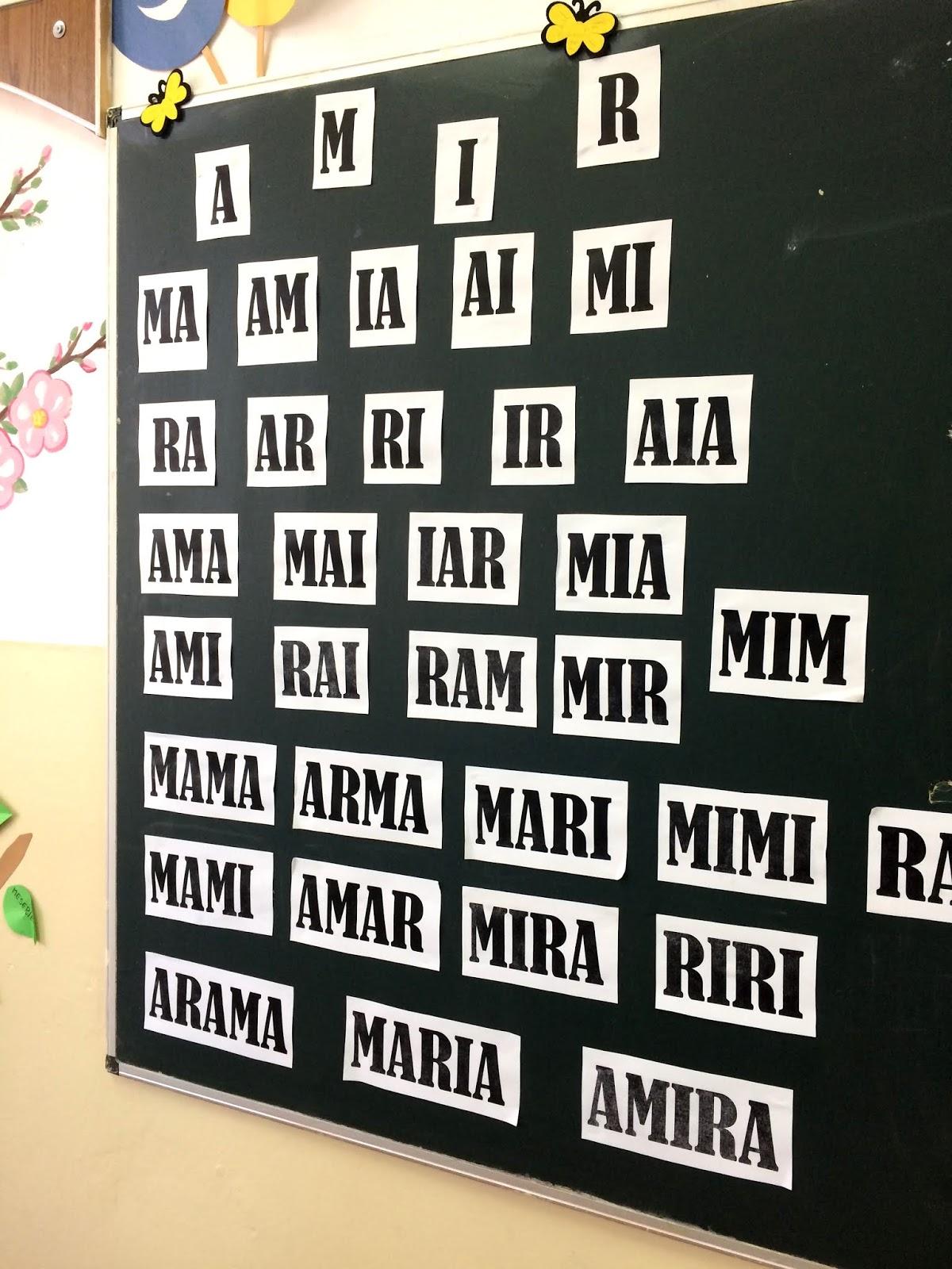 """Colecție de cuvinte și silabe cu literele """"A"""", """"M"""", """"I"""" și """"R"""""""