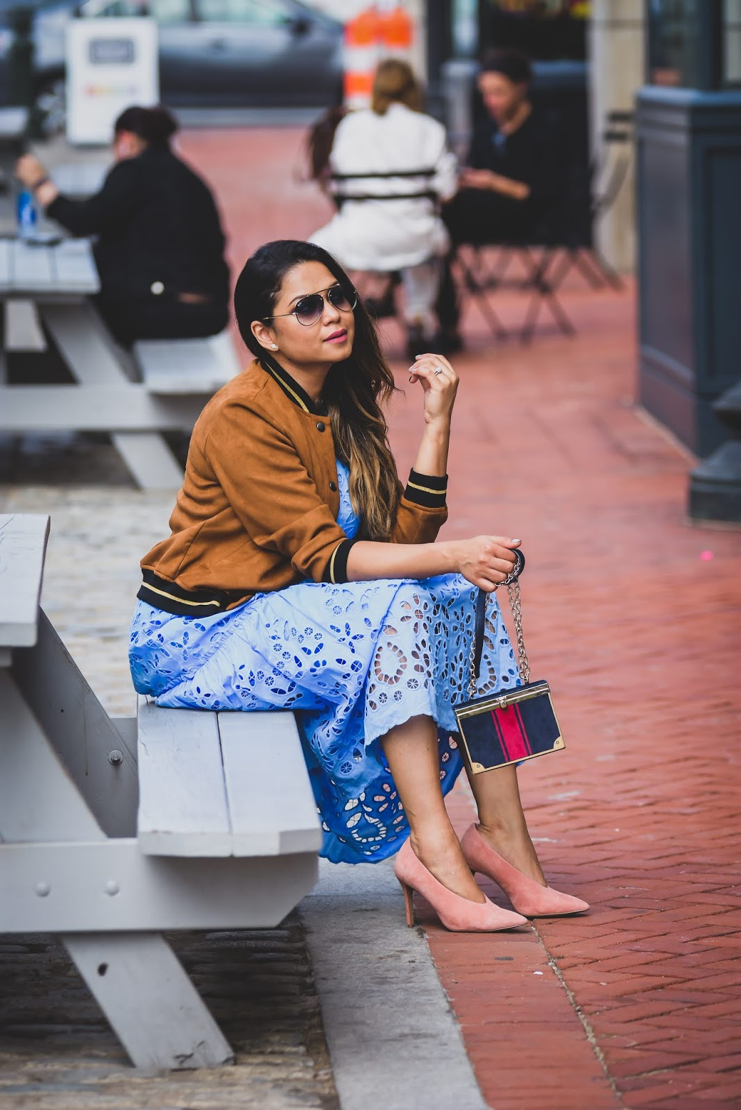 how to transition your summer wardrobe into fall, fall fashion, fall outfits, suede bomber jacket, suede pumps, street style, fashion, myriad musing