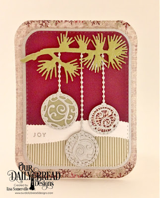 Our Daily Bread Designs Stamp Set: Card Greetings, Custom Dies: Ornament Branch, Rounded Rectangles, Double Stitched Rounded Rectangles, Double Stitched Circles, Circles, Leafy Edged Borders, Paper Collections: Christmas 2015, Coordinating Christmas 2015