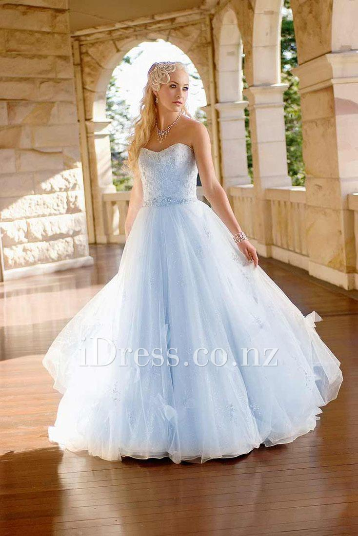 coloured wedding gowns for spring pale blue wedding dress Pale Sky Blue wedding gown