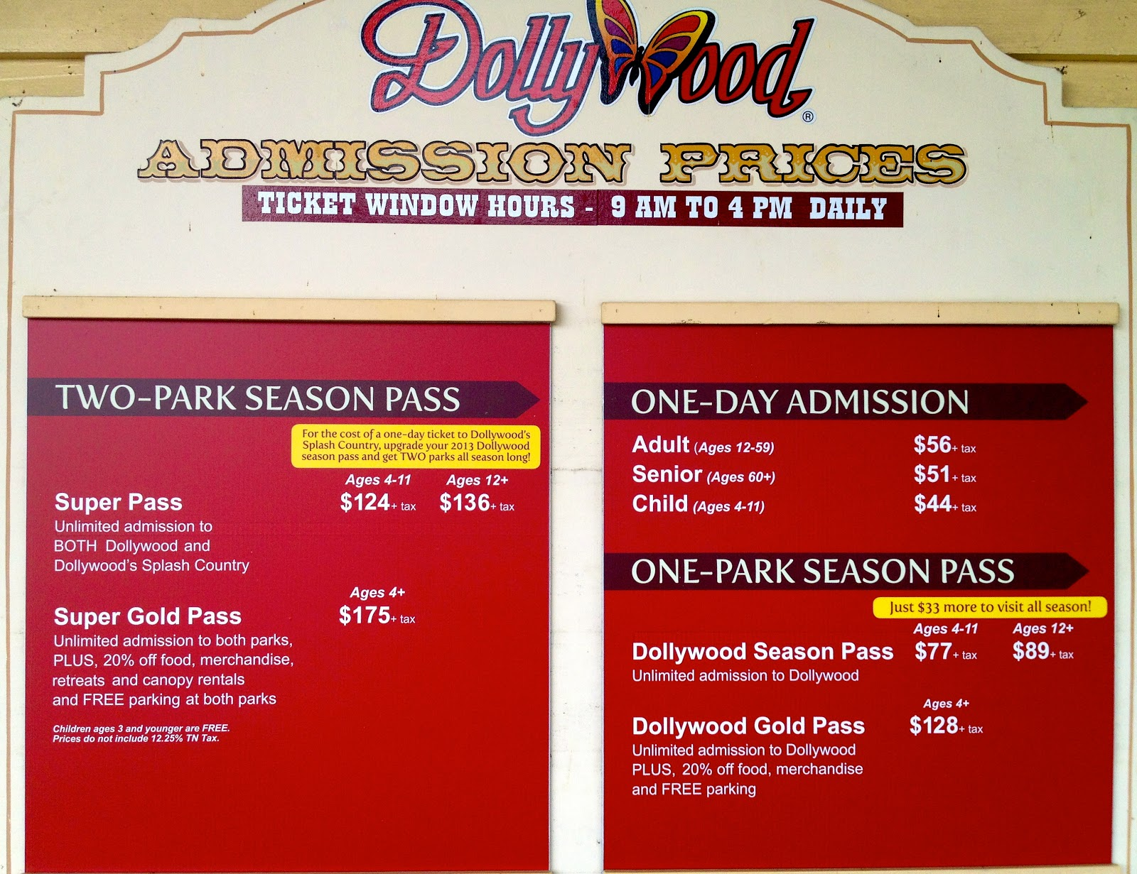 Dollywood Food Prices