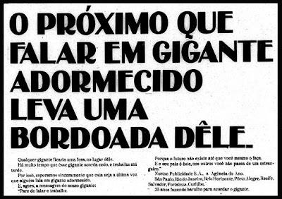 propaganda com conteúdo ufanista da agência Norton Publicidade de 1970; Oswaldo Hernandez.