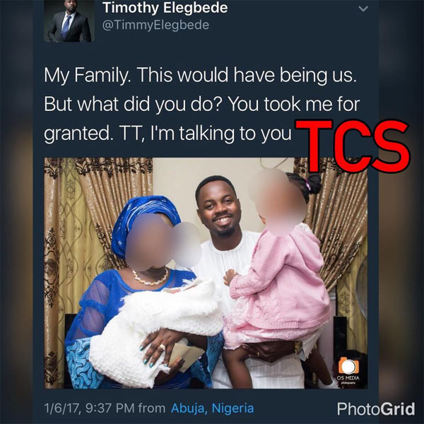 Man shades his ex-girlfriend with pic of his family on Twitter, Nigerians react