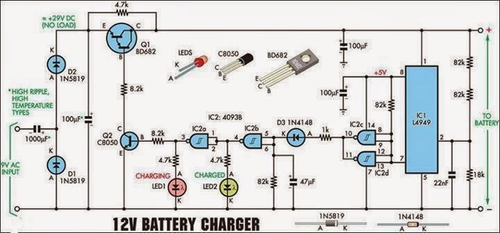 Electrical Engineering World: 12 Volt Battery Charger Circuit Diagram