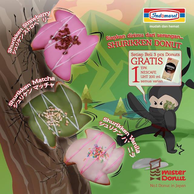 promo beli 3pcs Mister Donut Gratis 1 TPK NESCAFE UHT 200ml All Variant hanya di Indomaret