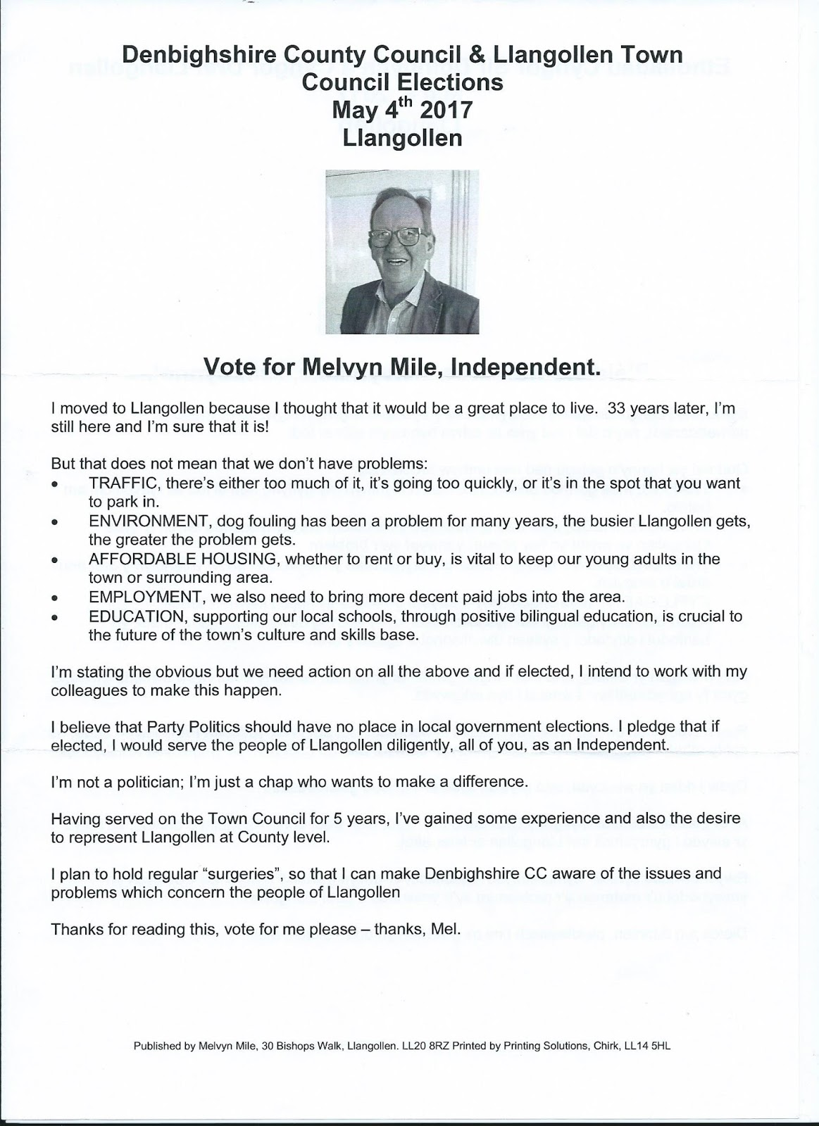 Llanblogger local news and comment from llangollen denbighshire below are copies of the election leaflets for three of the candidates despite a request to the green partys regional hq for information about its malvernweather Image collections