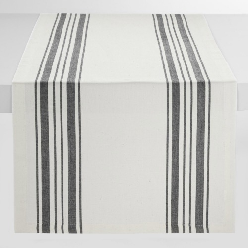 natural and black stripe table runner