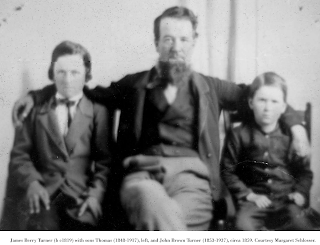 Image: Thomas (left), John Brown (right) with father James Berry Turner.