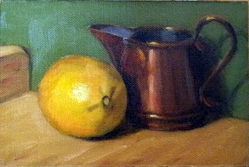 Oil painting of a lemon and a small copper jug on a chopping board.