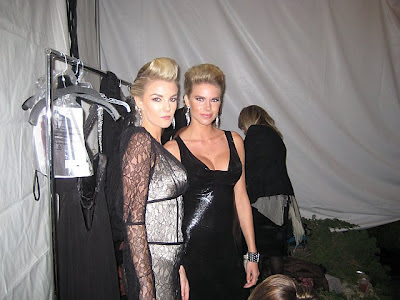 Beautiful ZARZAR MODELS Modeling For Von Vonni And Dina Bar-El Fashion Designers At The Playboy Mansion For The Grammy Awards After Party In Order To Raise Funds For Angelwish Foundation