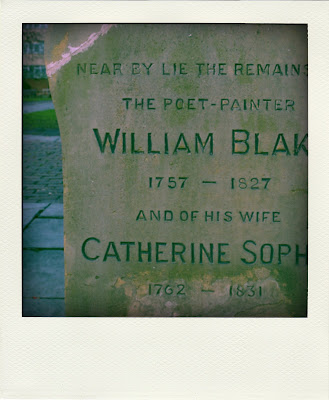 william blake memory stone for nearby grave in bunhill fields cemetery