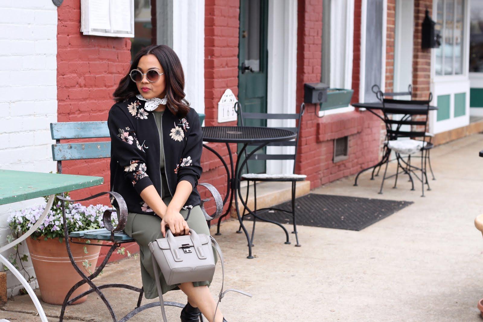 ad3cbf57056a7 Floral Bomber: Who What Wear via Target. Olive Green Midi Dress: Who What  Wear via Target. Gray Minibag: Marshalls. Polka Dot Ascot Scarf: Who What  Wear via ...
