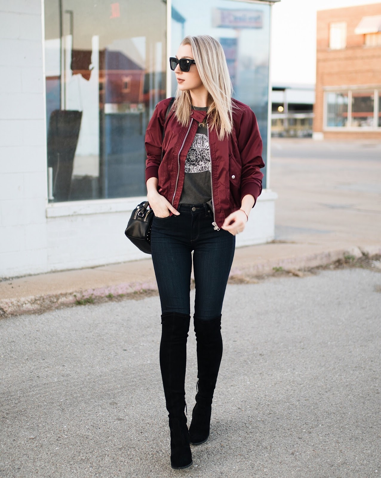 bomber jacket + over-the-knee boots