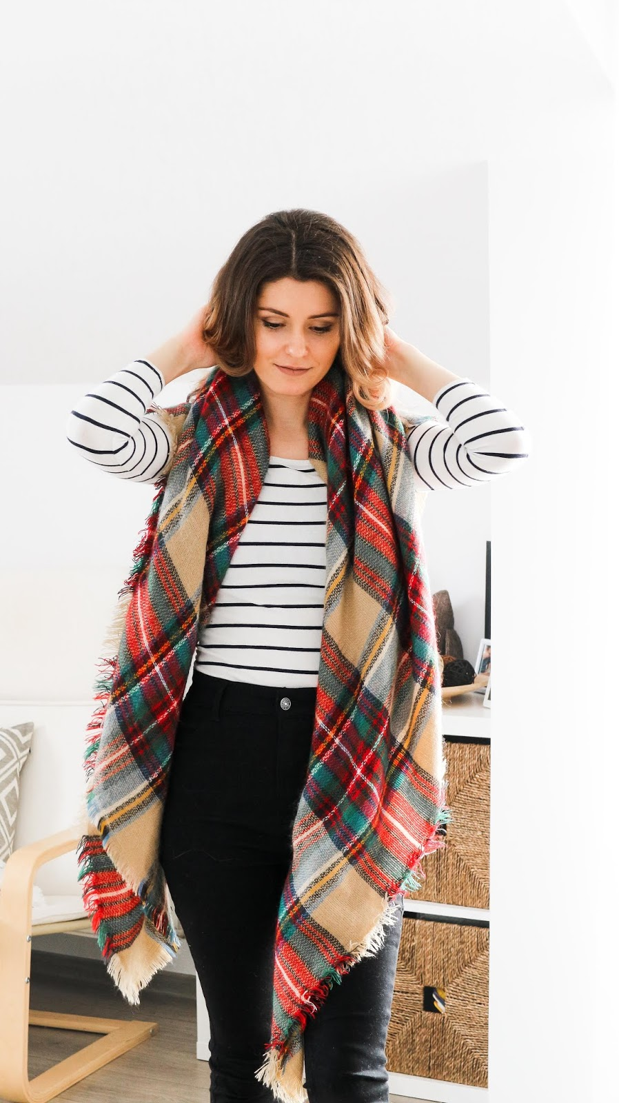 plaid blanket scarf with stripes outfit