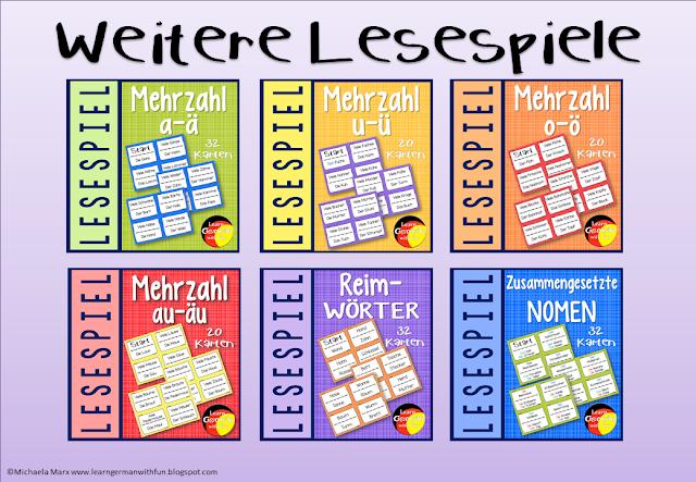 Verschiedene Lesespiele für den Deutschunterricht mit Kindern