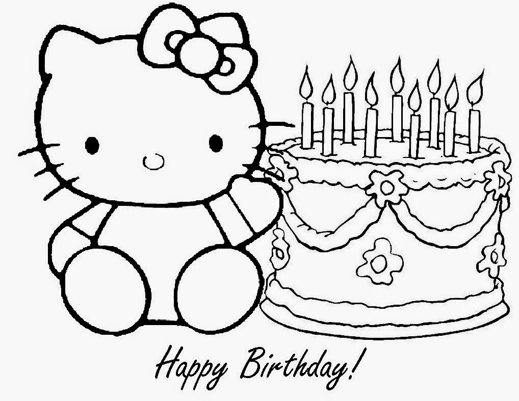 hello kitty birthday coloring pages free to print